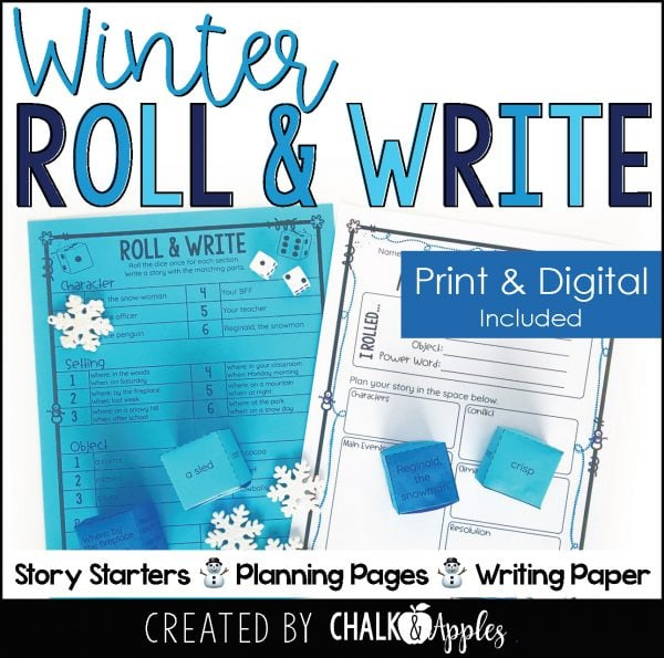 01 Winter Preview Page 1 - Winter Writing Activity - Roll & Write Center - Distance Learning