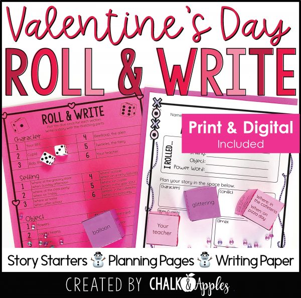 02 Valentine s Preview Page 1 scaled - Valentine's Day Writing Activity - Roll & Write Center - Distance Learning