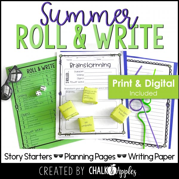 07 Summer Preview Page 1 - Summer Writing Activity - Roll & Write Center - Distance Learning