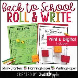 08 Back to School Preview Page 1 - Back to School Writing Activity - Roll & Write Center - Distance Learning