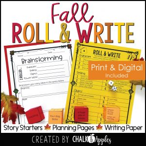 09 Fall Preview Page 1 - Fall Writing Activity - Roll & Write Center - Distance Learning