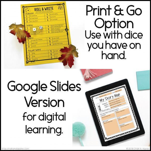 09 Fall Preview Page 2 - Fall Writing Activity - Roll & Write Center - Distance Learning
