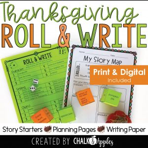 11 Thanksgiving Preview Page 1 - Thanksgiving Writing Activity - Roll & Write Center - Distance Learning