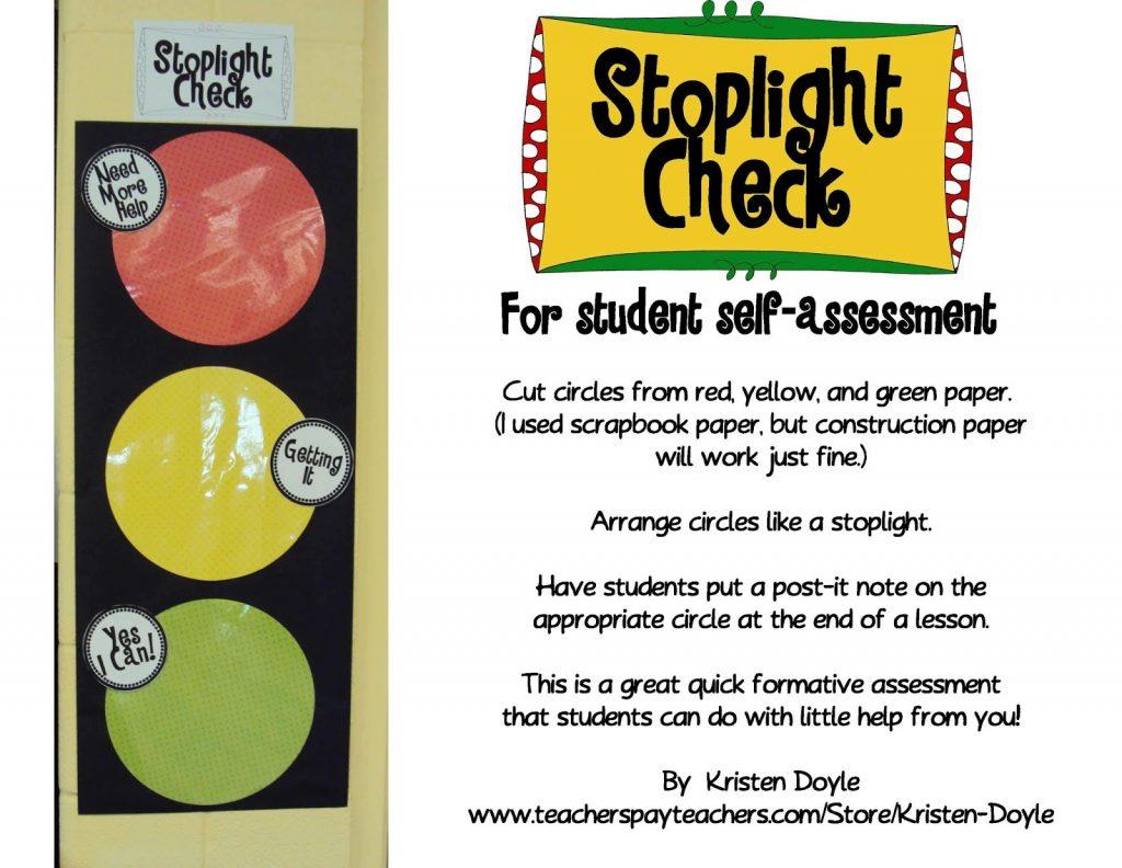 StoplightCheckforStudentSelfassessment Page 1 - Stoplight Check for Self Assessment: Freebie!