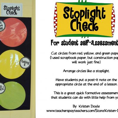 Stoplight Check for Self Assessment: Freebie!