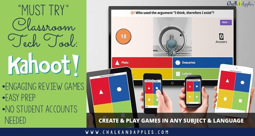 Must Try Classroom Tech: Kahoot makes learning fun with engaging review games in a trivia-style atmosphere! A student favorite!   www.chalkandapples.com