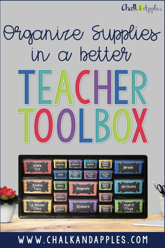 Organize all your teacher desk supplies in a (new + improved) Teacher Toolbox! #teachertoolbox #teachertoolboxlabels #classroomorganization #teachertoolboxdiy