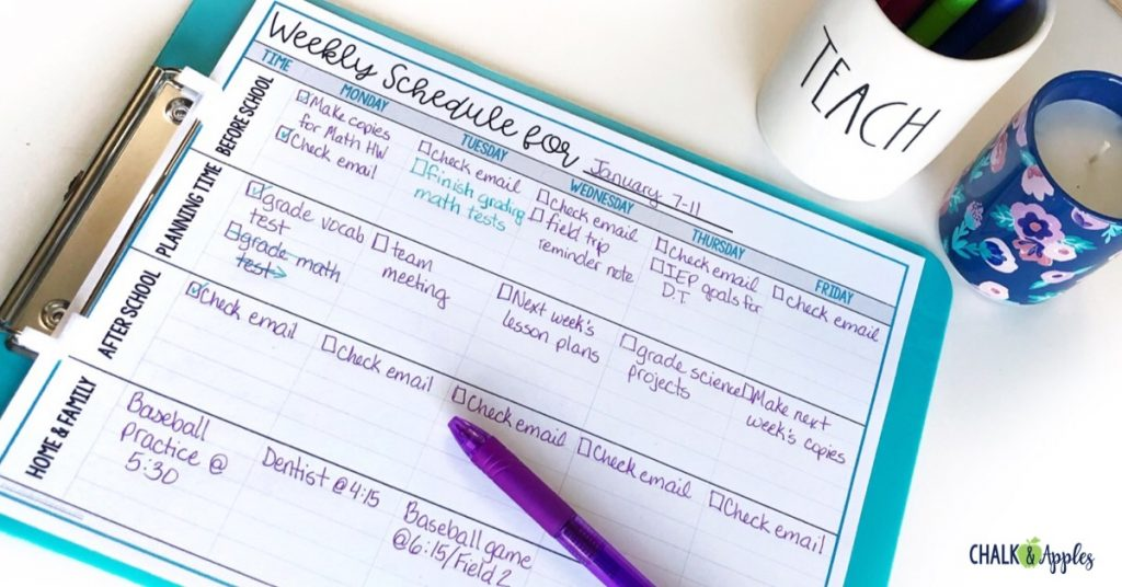 Break your to do list into different sections of your day