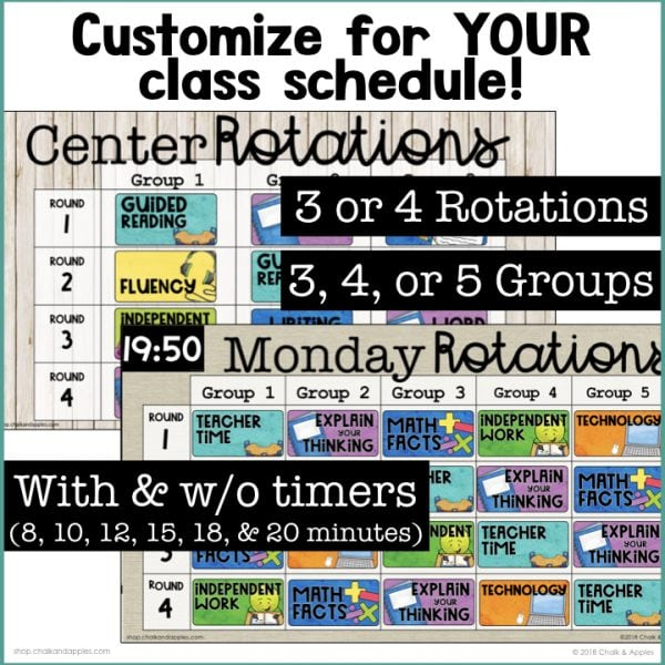 Customizable rotation boards perfect for your class schedule