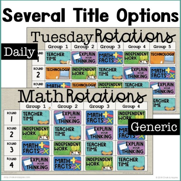 Digital Center Rotation Boards 3 - Digital Rotation Boards for Reading & Math (Bundle)