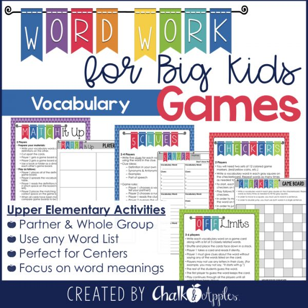 Low prep vocabulary games for upper elementary