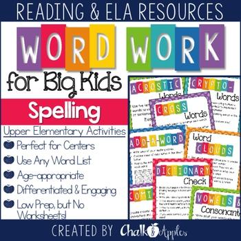 No prep spelling activities for upper elementary