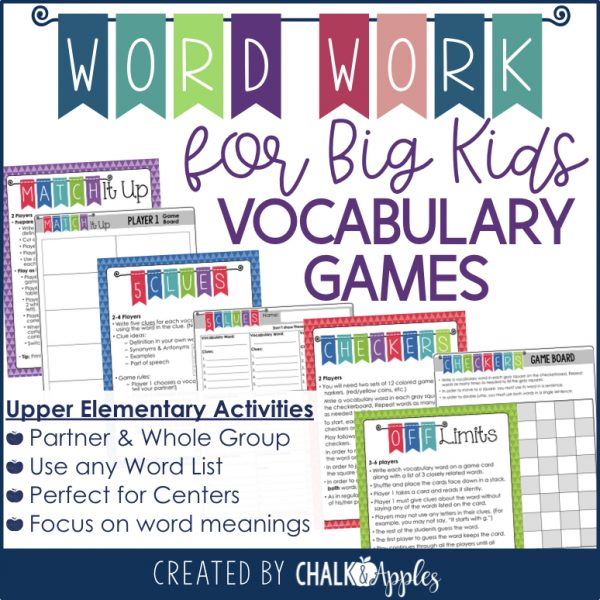 Word Work for Big Kids Vocabulary Games