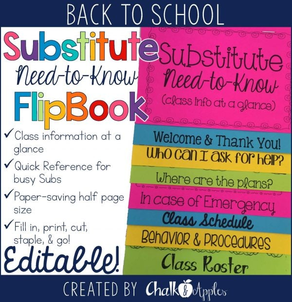Substitute Info Flipbook
