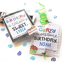 Instant, Editable birthday tags & more