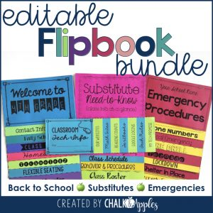 Editable Classroom Flipbooks - Back to school, substitutes, emergencies, & student logins