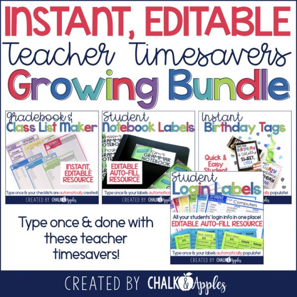 Instant Editable Teacher Timesavers Bundle