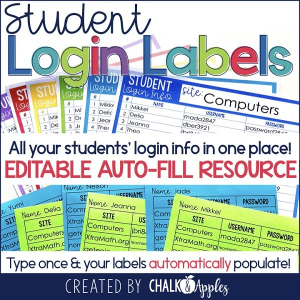 Student Login Labels