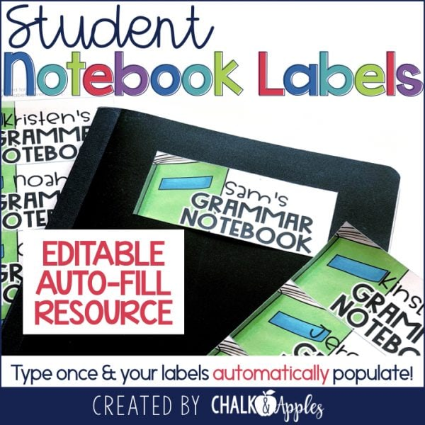 Student Notebook & Folder Labels