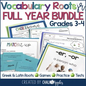 3rd & 4th Grade Vocabulary FULL YEAR BUNDLE – Greek & Latin Roots