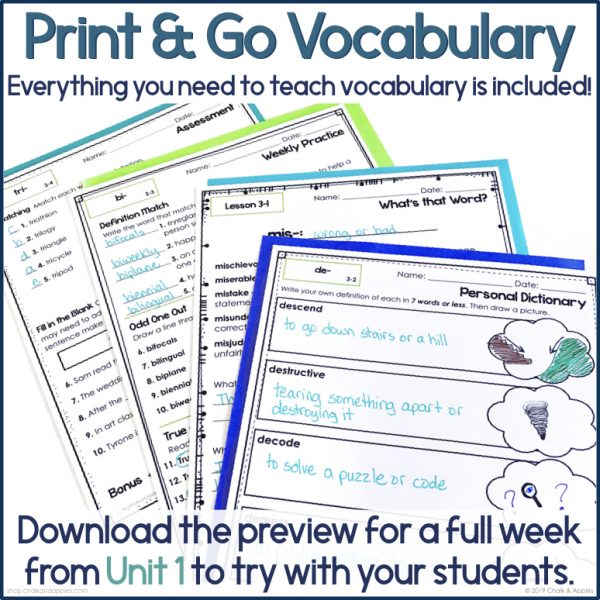 3rd & 4th Grade Vocabulary