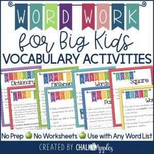 Word Work for Big Kids Vocabulary Activities