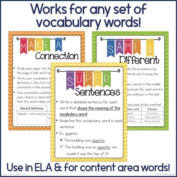 Word Work for Big Kids Vocabulary Activities