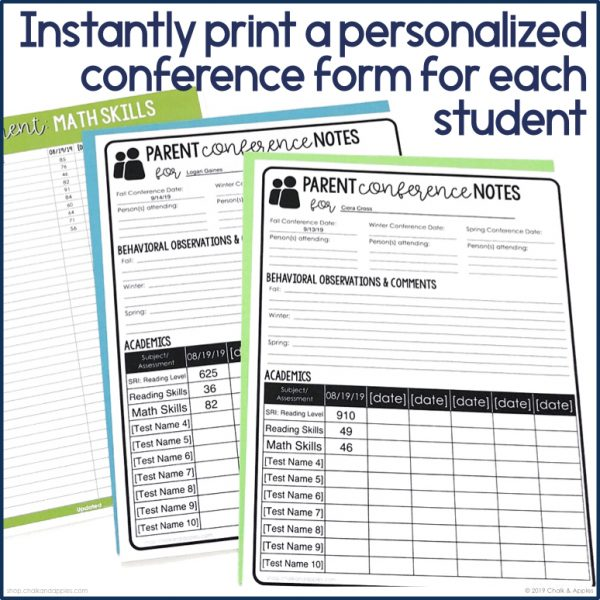 print personalized parent conference forms for each student