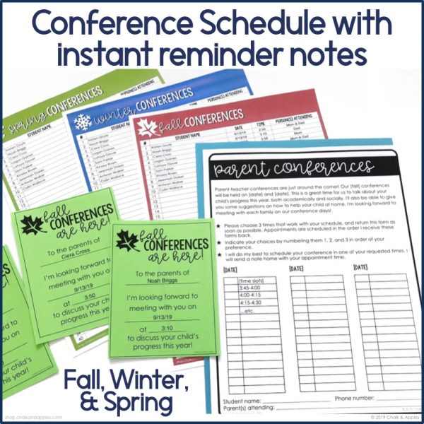 conference schedule and reminder notes