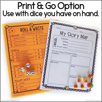 366F3CE9 5621 4059 AD6F BE6A6C0FA325 - Halloween Writing Activity - Roll & Write Center - Distance Learning