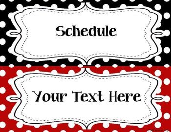 8E99D676 5A82 4584 8B8C AAC8FEE74E2D - Classroom Label Pack (Editable) - Red & Black Polka Dots