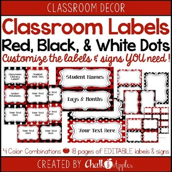 Classroom Label Pack Editable Red Black Polka Dots 1.jpg - Classroom Label Pack (Editable) - Red & Black Polka Dots