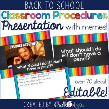 Classroom Procedures PowerPoint With Memes Editable 1.jpg - Classroom Procedures PowerPoint with Memes (Editable!)