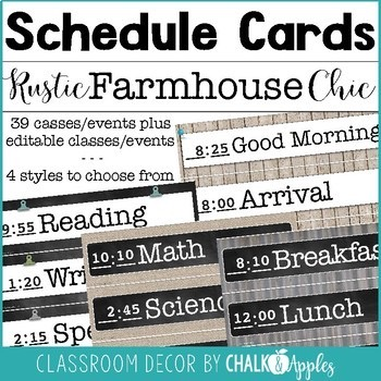Editable Schedule Cards Rustic Farmhouse Chic 1.jpg - Editable Schedule Cards - Rustic Farmhouse Chic