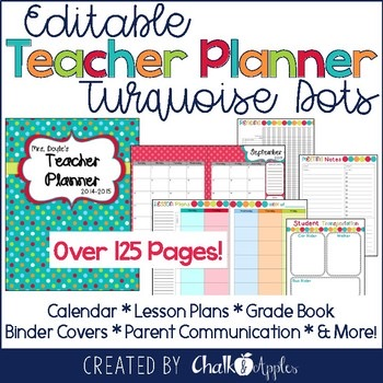 Editable Teacher Planner Turquoise Dots 1.jpg - Editable Teacher Planner - Turquoise Dots