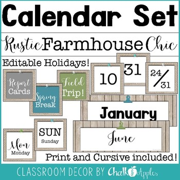 FCC09DF1 21F9 47FB B6A3 E95125EC57EF - Editable Calendar Set - Rustic Farmhouse Chic