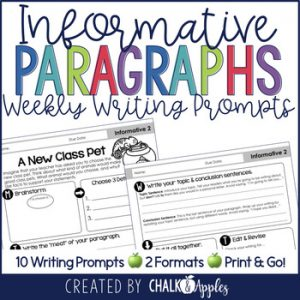 Informative Paragraphs Weekly Paragraph Writing Prompts 1.jpg - Paragraph Writing Bundle - Print & Digital Weekly Writing Prompts