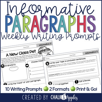 Informative Paragraphs Weekly Paragraph Writing Prompts 1.jpg - Informative Paragraphs - Weekly Paragraph Writing Prompts
