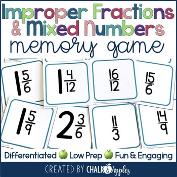 Mixed Numbers And Improper Fractions Concentration Game 1.jpg - Mixed Numbers and Improper Fractions Concentration Game