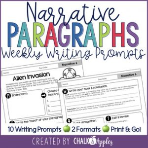 Narrative Writing Weekly Paragraph Prompts 1.jpg - Paragraph Writing Bundle - Print & Digital Weekly Writing Prompts
