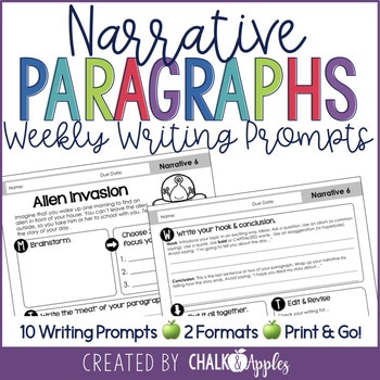 Narrative Writing Weekly Paragraph Prompts 1.jpg - Narrative Paragraphs - Weekly Paragraph Writing