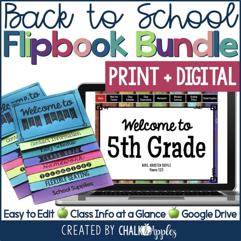 PREVIEW Back to School Flipbooks Print Digital Bundle.001 - Using a Back to School Flipbook for Distance Learning