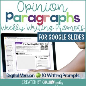 PREVIEW Digital Opinion Writing.001 - Opinion Paragraphs - DIGITAL Weekly Paragraph Writing Prompts
