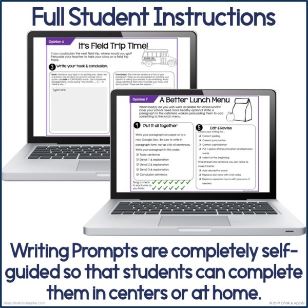 PREVIEW Digital Opinion Writing.004 - Opinion Paragraphs - DIGITAL Weekly Paragraph Writing Prompts