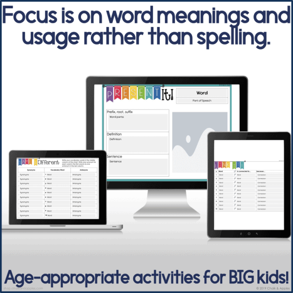 PREVIEW Digital Word Work for Big Kids.004 - DIGITAL Word Work for Big Kids: Vocabulary Activities
