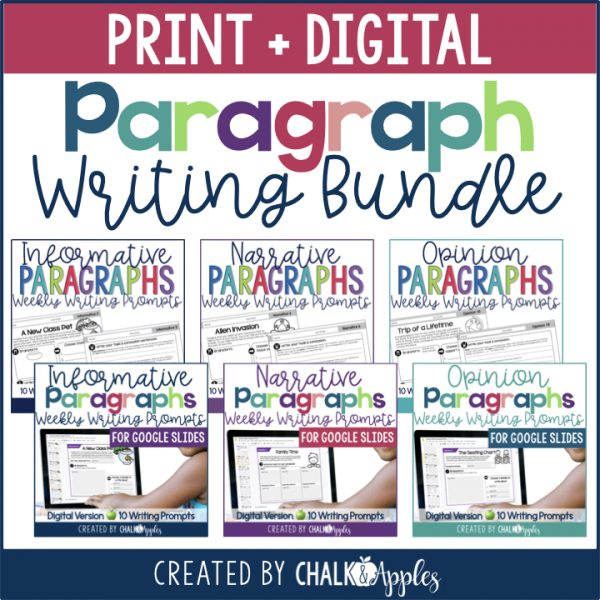 PREVIEW Wekly Paragraph Writing Print Digital Bundle.001 - Paragraph Writing Bundle - Print & Digital Weekly Writing Prompts