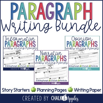 Paragraph Writing Bundle Weekly Writing Prompts 1.jpg - Paragraph Writing Bundle - Print & Digital Weekly Writing Prompts