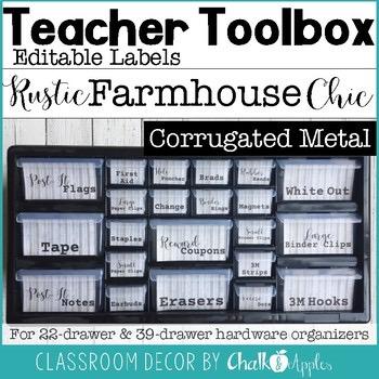 Teacher Toolbox Corrugated Metal Rustic Farmhouse Chic 1.jpg - Teacher Toolbox - Corrugated Metal - Rustic Farmhouse Chic