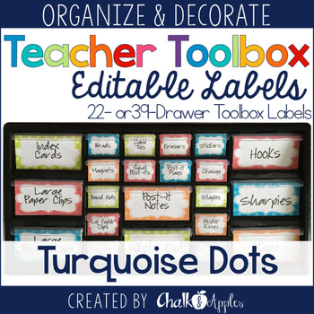 Teacher Toolbox Editable Turquoise Dots Labels 1.jpg - Teacher Toolbox - Editable Turquoise Dots Labels