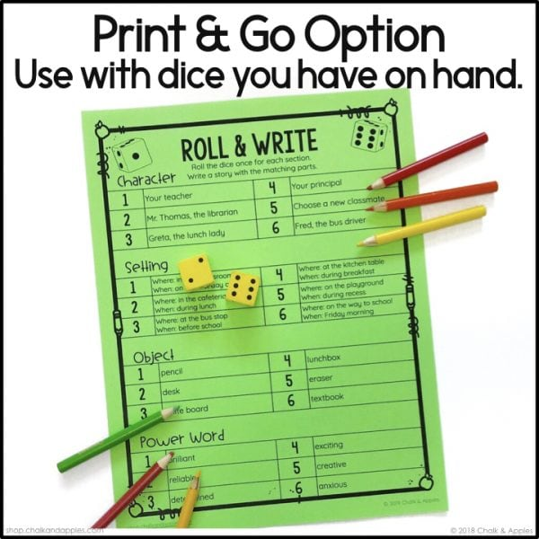 Thumbnails.002 - Back to School Writing Activity - Roll & Write Center